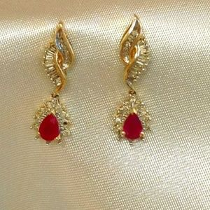 Jewelry - Ruby and Diamond 14K Dangle Earrings